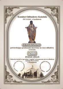 Cegiełka Pomocy. Odbudowa kościoła. Szynkielów