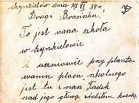 Zdjęcie udostępniła Janina Sójka-Dobras. Zotało ono wysłane salezjaninowi Józefowi Kałużnemu (1897-1987) do Brazylii, przez rodziców Janiny -Władysławę z Kałużnych i Piotra - małżonków Sójków, a następnie przywiezione przez niego do Szynkielowa.