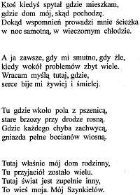 Mój Szynkielów, wiersz Radosławy Frąckiewicz