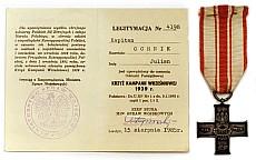Julian Ochnik - Krzyż Kampanii Wrześniowej 1939 r nadany przez Ministerstwo Spraw Wojskowych, Londyn 1985 r.
