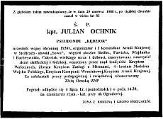 Nekrolog opublikowany w prasie łódzkiej po śmeirci Juliana Ochnika